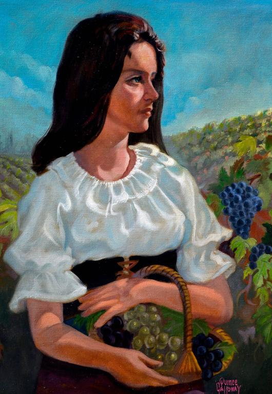 Woman in the Vineyards - Napa California Figurative Landscape  - American Impressionist Painting by Quince Galloway