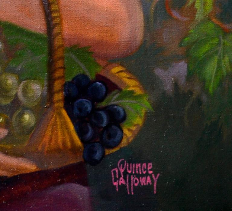 Striking figurative landscape of a woman in a vineyard setting by Quince Rudolph Galloway (American, 1912-2003). Signed