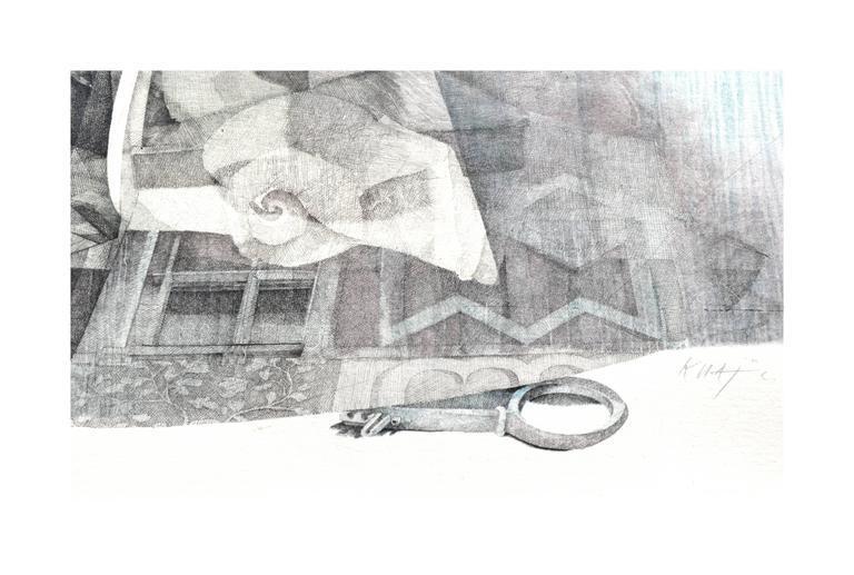 Venetian Keyhole by Katherine Chang Liu - Gray Abstract Print by  Katherine Chang Liu