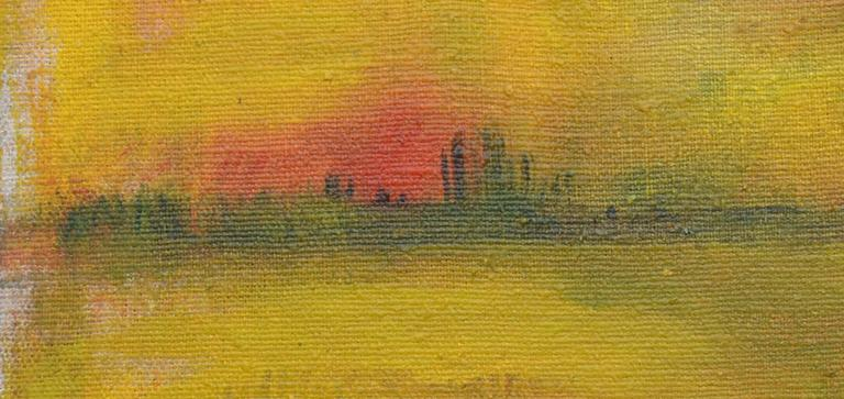 Wetlands at Sunset Landscape - Abstract Expressionist Painting by Tom Hamil