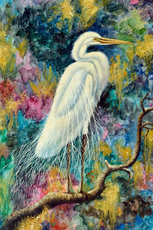 The White Egret  - Painting by Augostino