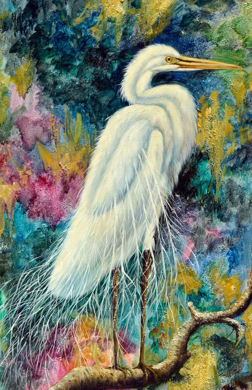 The White Egret  - Realist Painting by Augostino