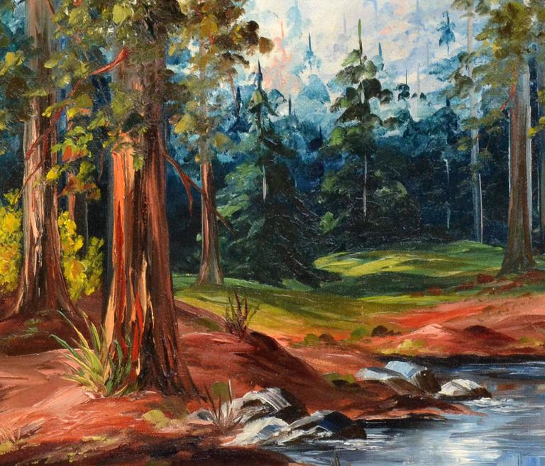 Elizabeth Hubbell - California Stream and Redwoods ... Redwood Tree Painting