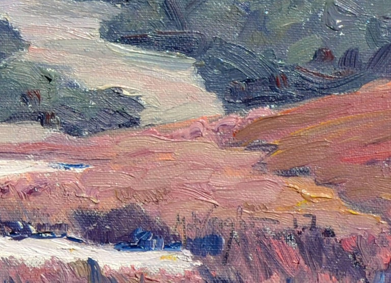 Desert flats, a landscape oil painting by California artist Michael Wright (American, 20th Century). Presented in a giltwood frame. Signed
