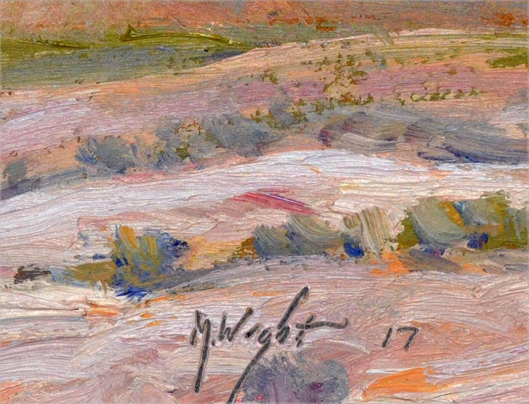 Desert mountains, an impressionist oil painting by Michael Wright (American, 20th Century). Presented in a giltwood frame. Signed