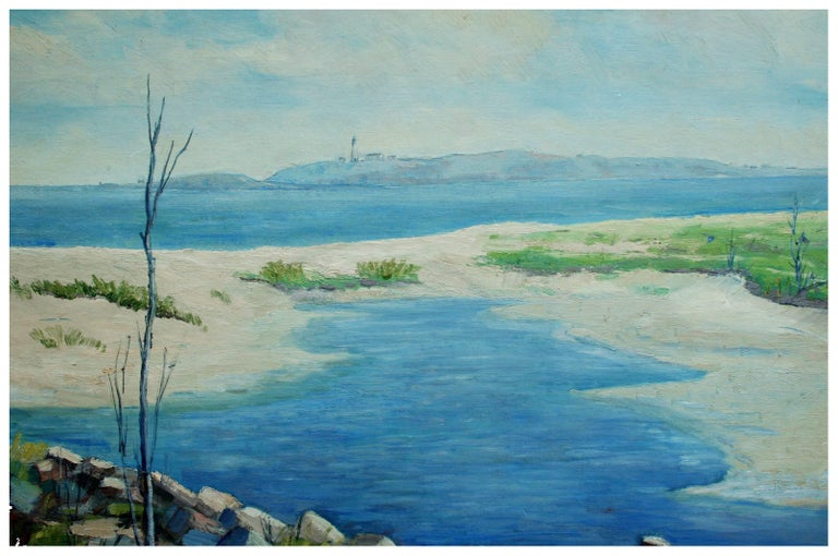Mid Century Tidal Pools & Lighthouse Landscape - Painting by L. Clogston