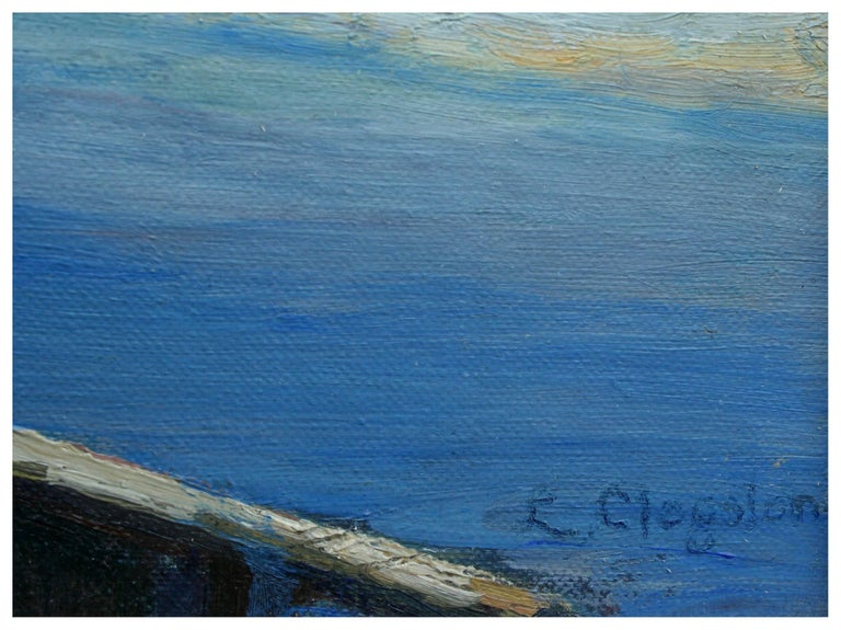 Mid Century Tidal Pools & Lighthouse Landscape - American Impressionist Painting by L. Clogston