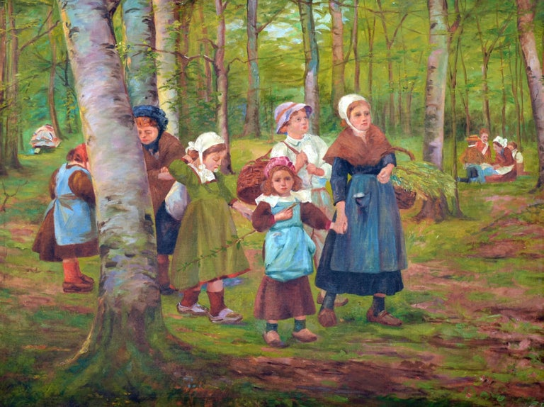 Dutch Family in the Forest - Painting by French School