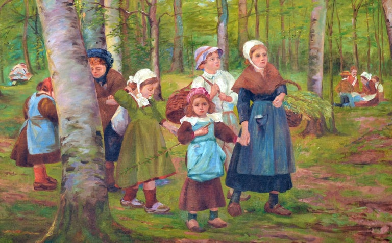 Dutch Family in the Forest - Impressionist Painting by French School