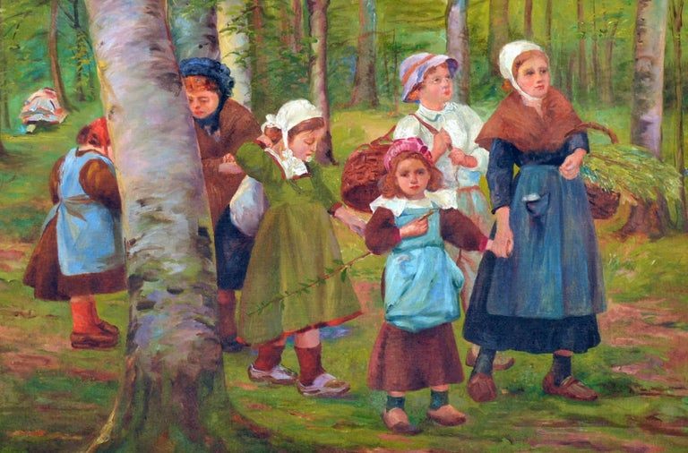 Dutch Family in the Forest - Brown Landscape Painting by French School