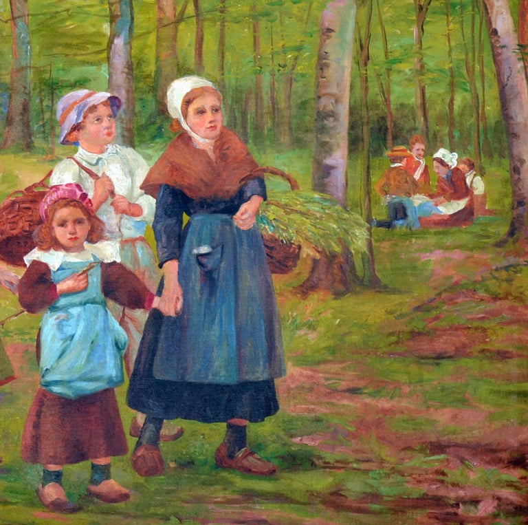 Dutch family in the forest, a substantial and period impressionist oil painting. Presented in a period giltwood frame. Signed illegibly lower left. Image size, 27.25