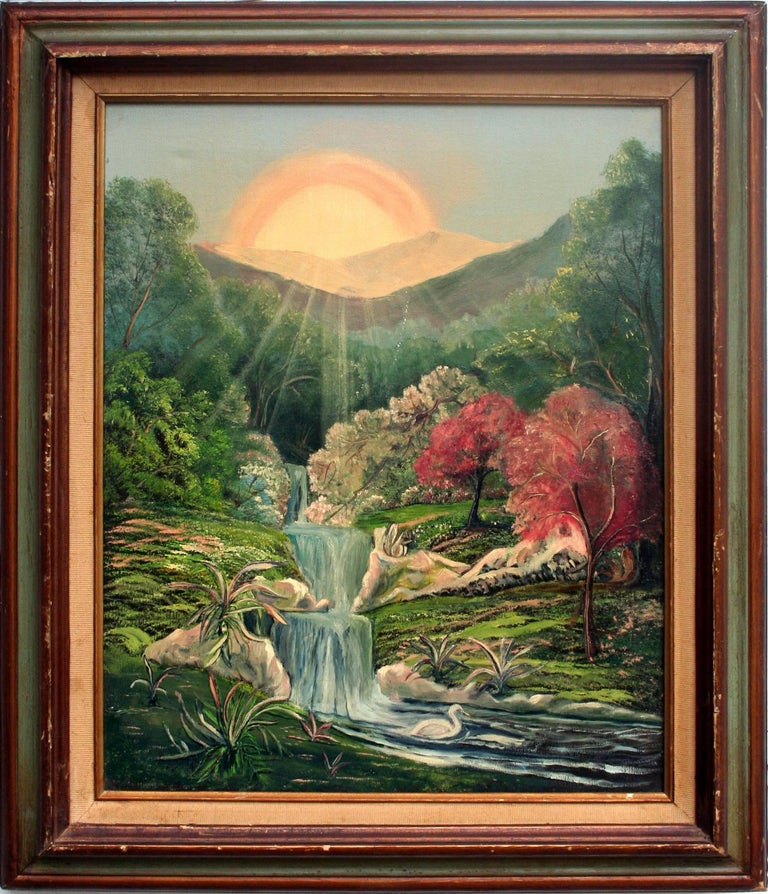 Joseph Parker Mystical Sunrise And Waterfall Visionary
