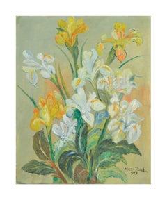 Mid Century Yellow and White Irises Still Life