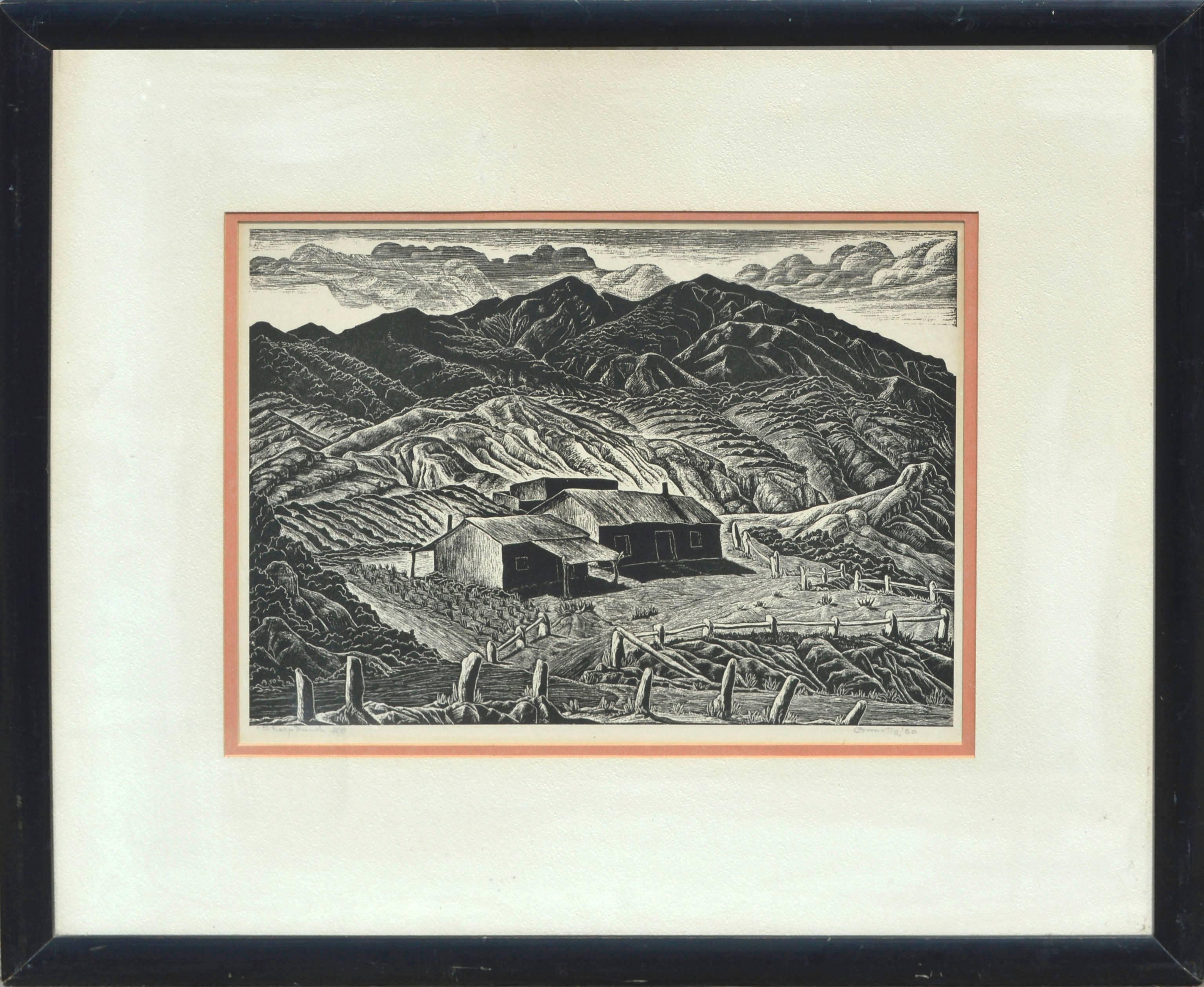 Mid Century Sheep Ranch Landscape Woodblock
