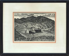 Mid Century Sheep Ranch Landscape Woodblock
