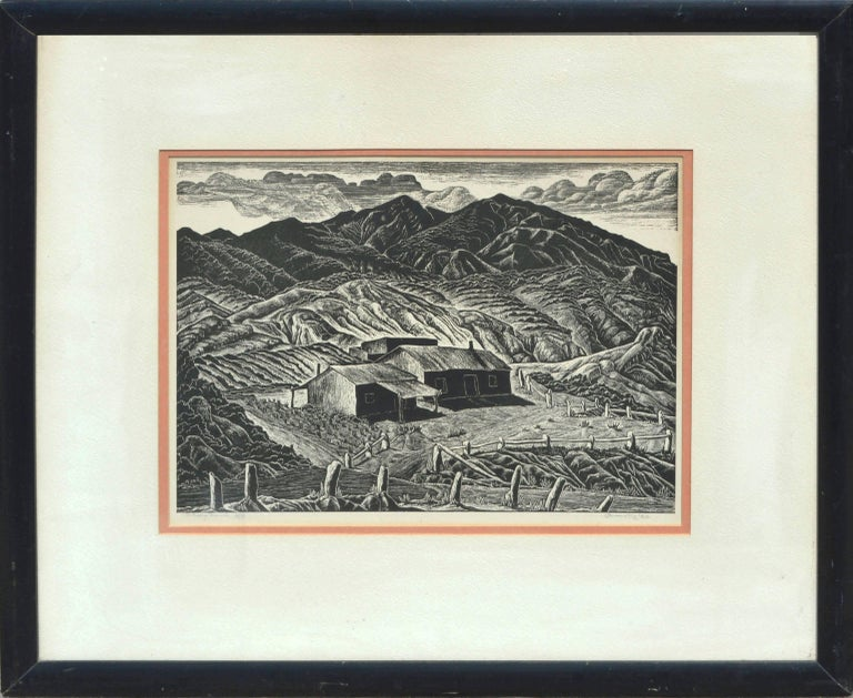 Ina Annette Landscape Print - Mid Century Sheep Ranch Woodblock