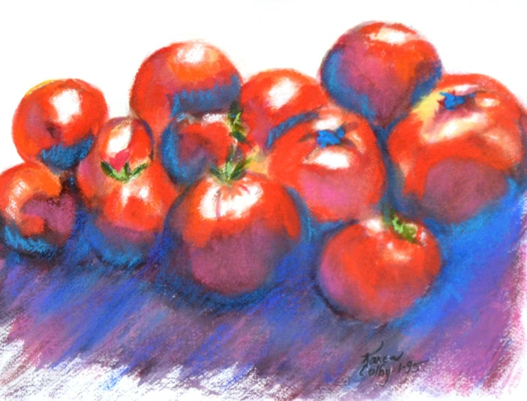 Red Tomatoes Still-Life - American Impressionist Painting by Karen Colby