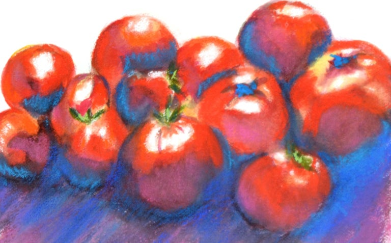 Red Tomatoes Still-Life - Gray Still-Life Painting by Karen Colby