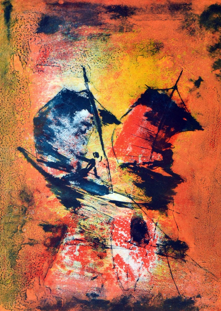 Mid Century -- Racing the Sun - Abstract Expressionist Print by Hoi Lebadang