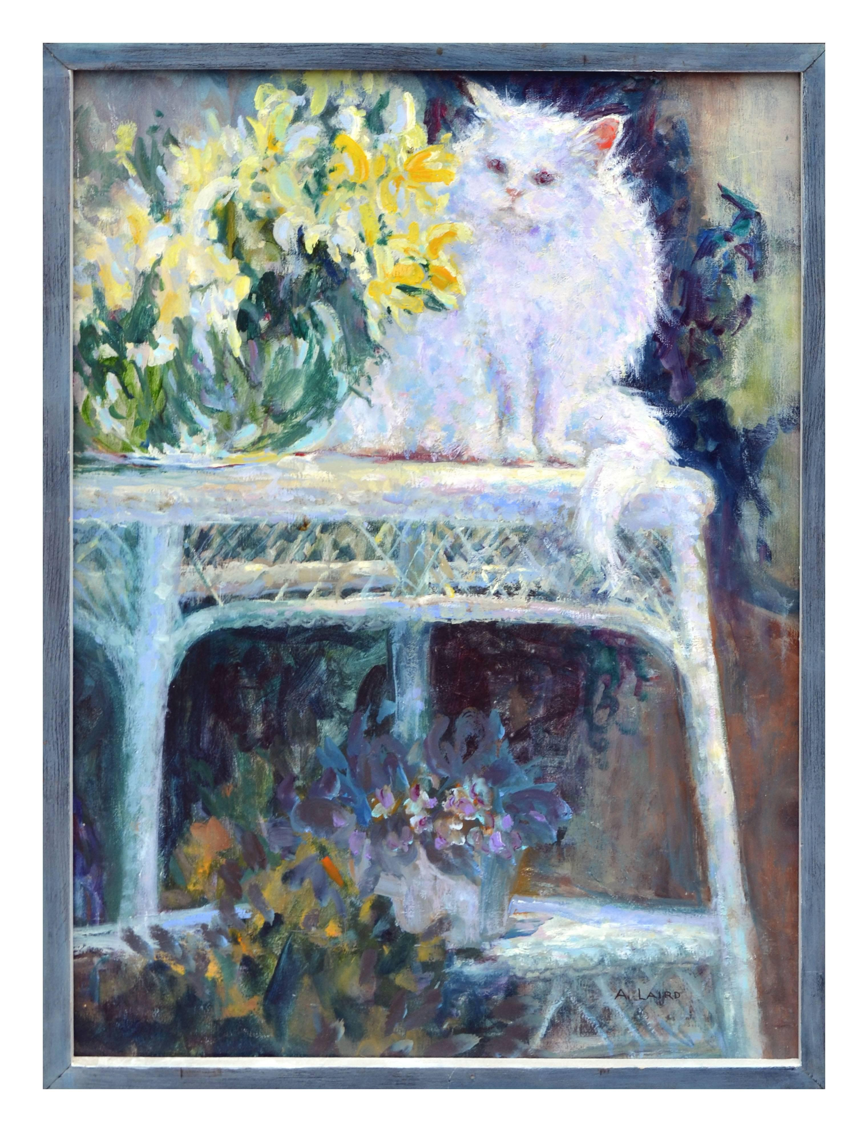 """""""Wicker Table"""" with White Cat Garden Still-Life"""