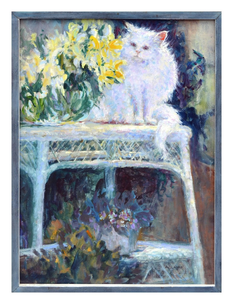 """Alice Laird Animal Painting - """"Wicker Table"""" with White Cat Garden Still-Life"""