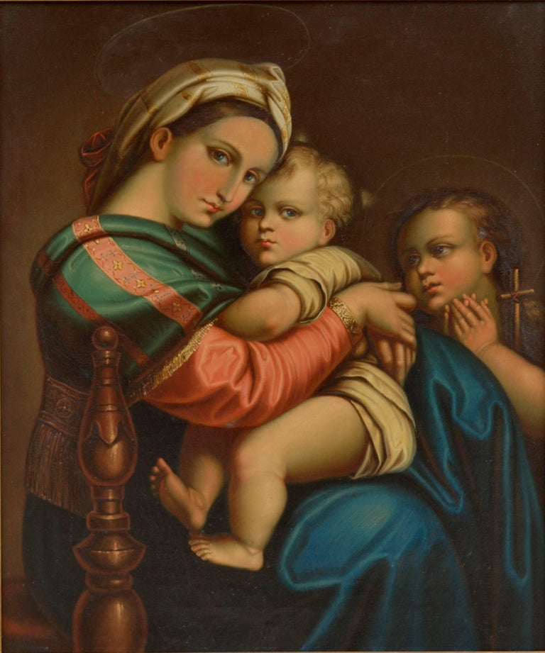 19th Century Study of Raphael's Madonna Della Seggiola - Painting by Unknown