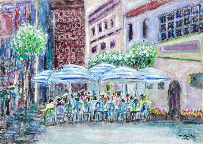 San Francisco Cafe Street Scene - Painting by Frederico Domondon