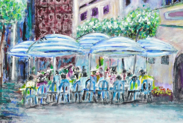 San Francisco Cafe Street Scene - American Impressionist Painting by Frederico Domondon