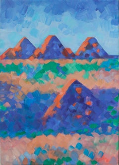 Four Red Mountains - Abstract Landscape