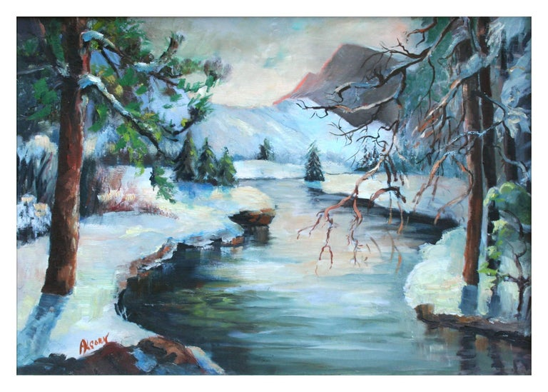 Merced River Yosemite Landscape - Painting by Rowena Lung Alcorn