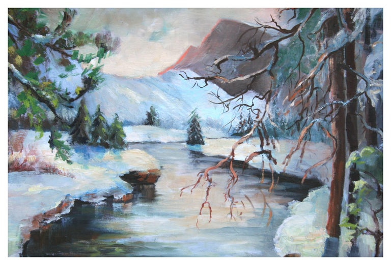 Merced River Yosemite Landscape - Impressionist Painting by Rowena Lung Alcorn