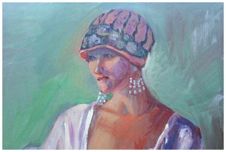 Deco Portrait of a Woman - Female Figure Painting - Gray Portrait Painting by Dominique Amendola