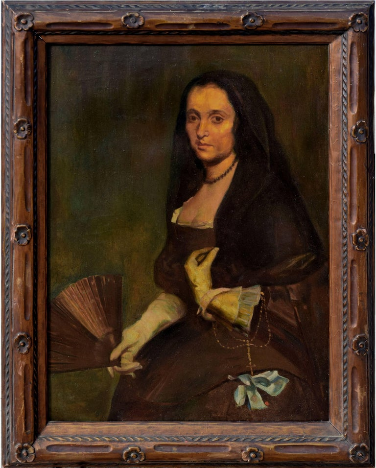 Unknown Portrait Painting - The Lady with a Fan after Diego Velasquez