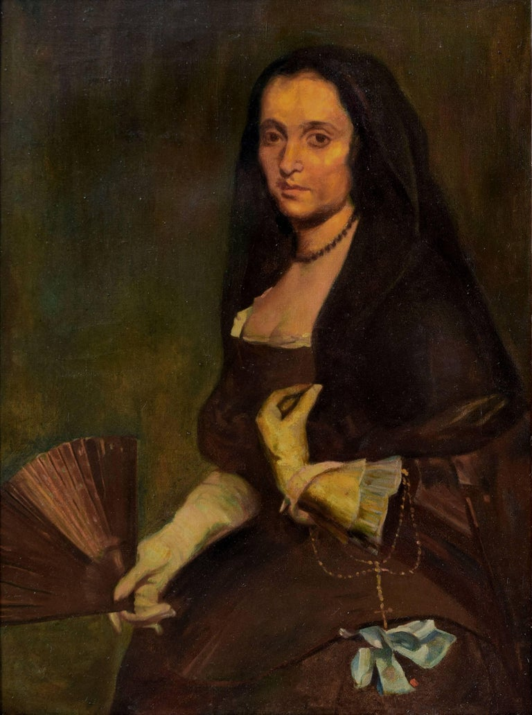 The Lady with a Fan after Diego Velasquez - Painting by Unknown