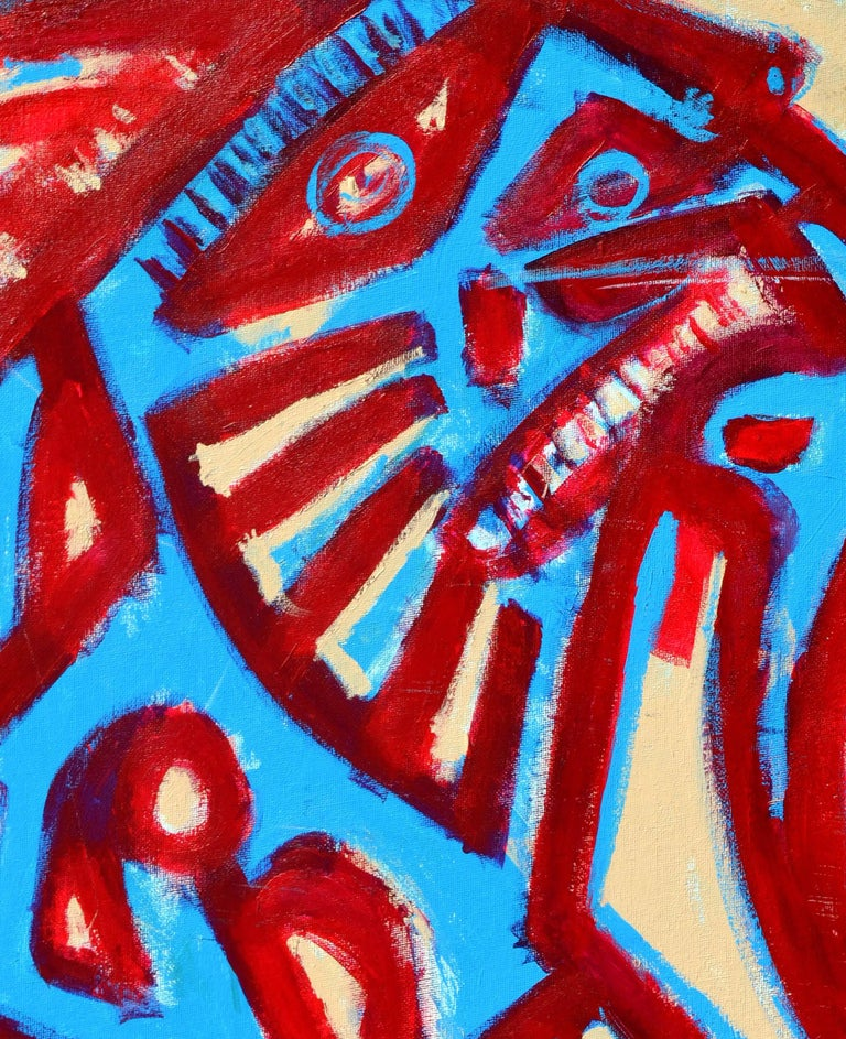 Red and Blue Figurative - Abstract Expressionist Painting by Daniel David Fuentes