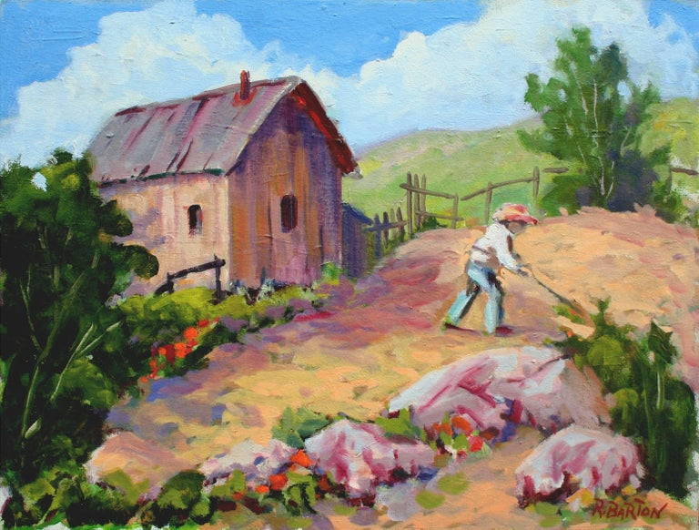 Ray Barton Landscape Painting - Carmel Valley Gardener Landscape