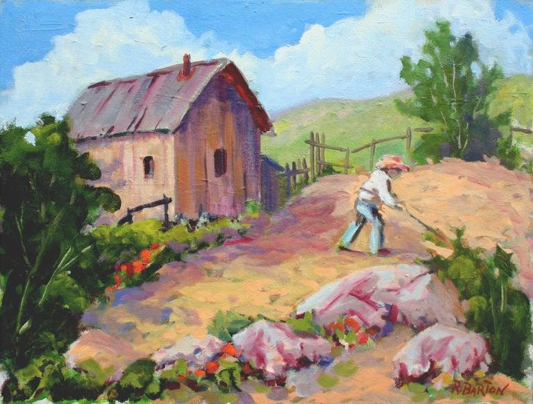 Carmel Valley Gardener Landscape - Painting by Ray Barton