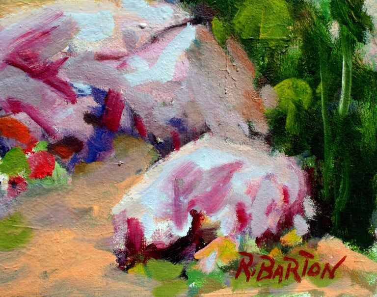 Carmel Valley Gardener Landscape - American Impressionist Painting by Ray Barton
