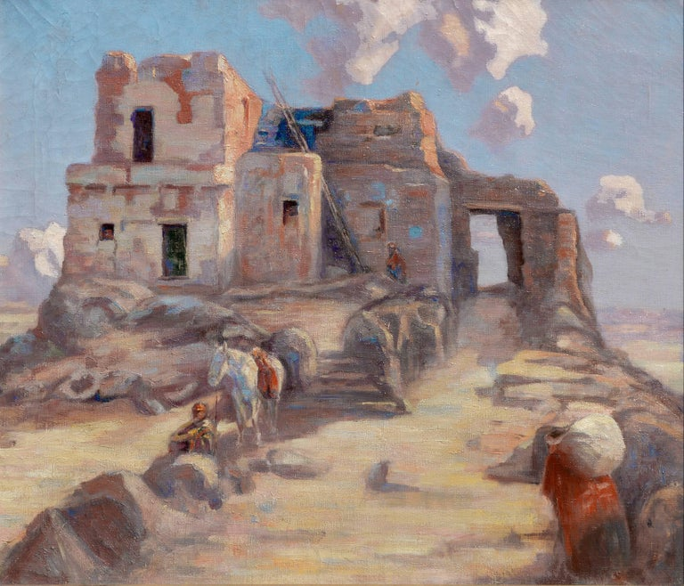 Walpi Hopi Village Arizona First Mesa Marion Kavanaugh (Wachtel) - Painting by Marion Kavanaugh Wachtel