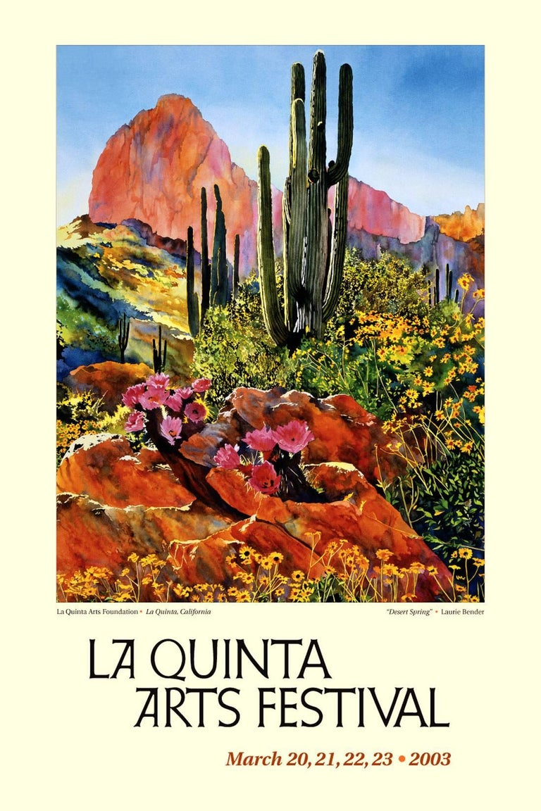 Vivid large scale giclee print, 27/95, titled Desert Spring 1996 by Laurie Bender (American, b. 1953). Displayed double linen mat and whitewashed wood frame. Signed lower right and numbered