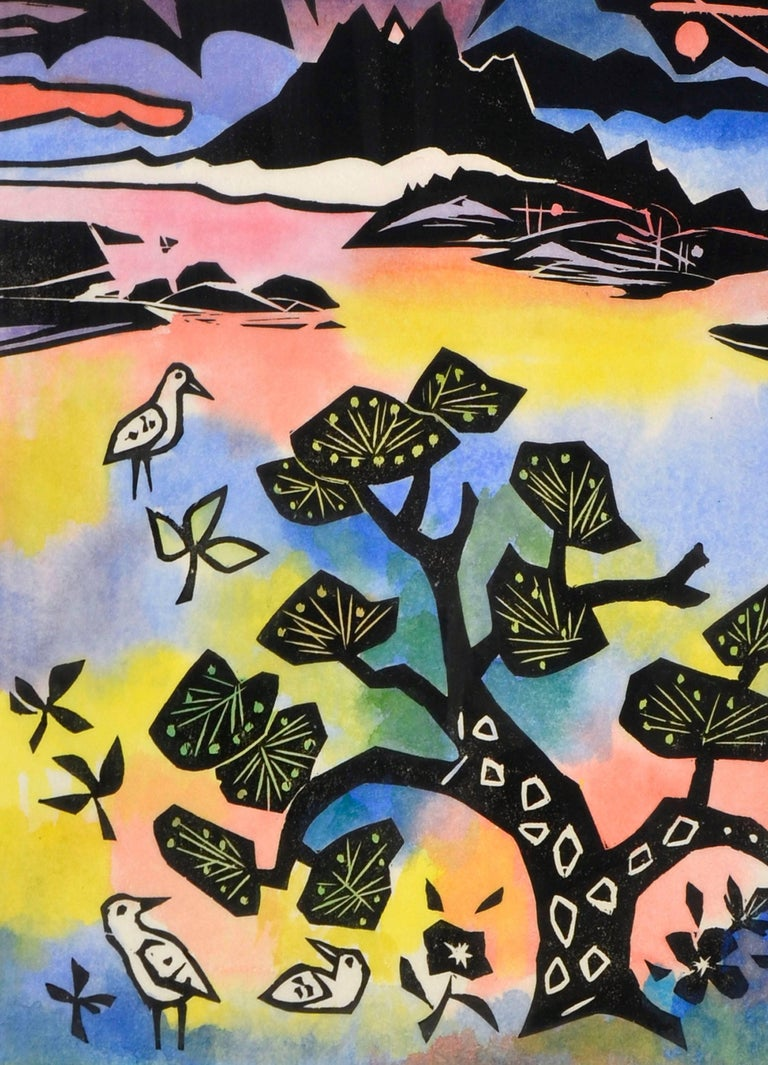 Oriental Landscape with Birds - Abstract Expressionist Painting by Ralph Edward Joosten