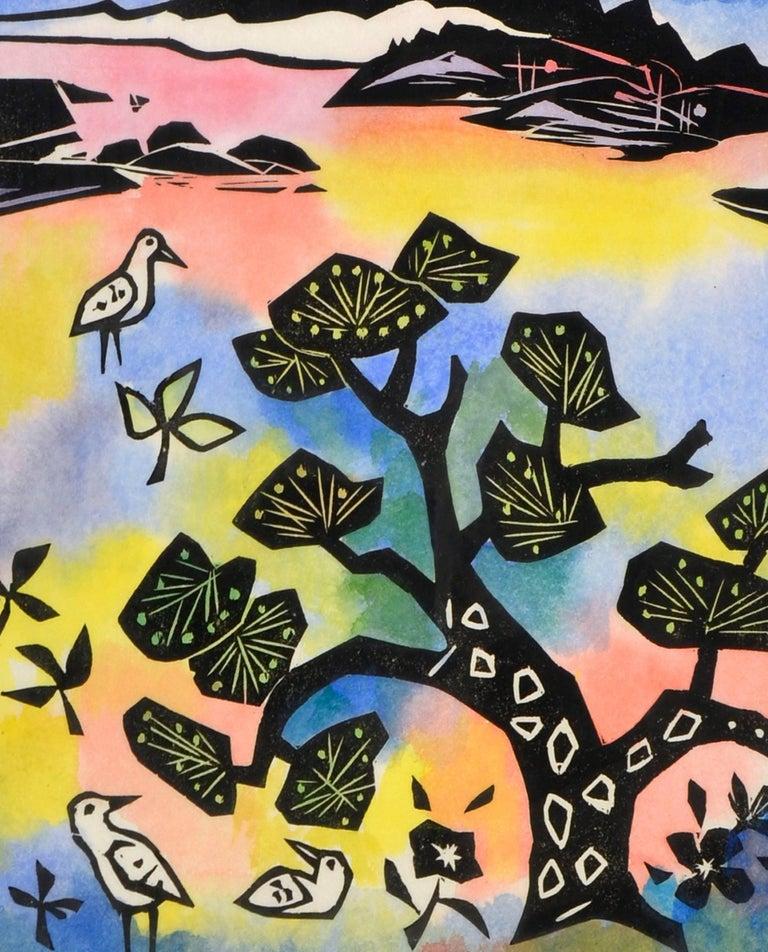 Oriental Landscape with Birds - Beige Abstract Painting by Ralph Edward Joosten