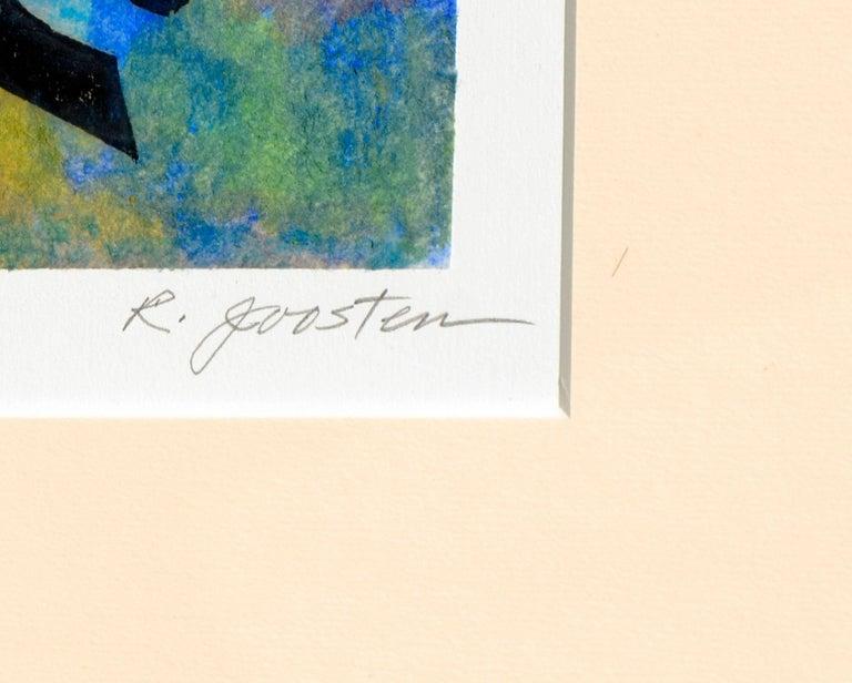 """Oriental Landscape with Birds,"" a woodblock by Santa Cruz, California artist Ralph Edward Joosten (American, 1928-2009). Presented in a metal frame. Signed ""R. Joosten"" lower right, titled ""Oriental Landscape with"