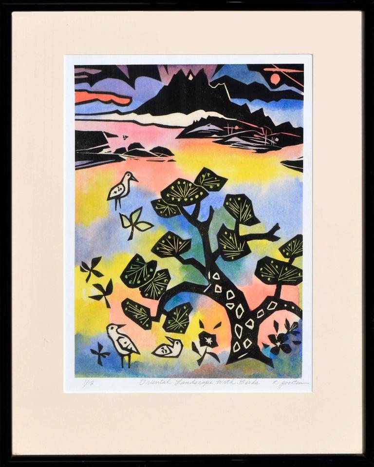 Ralph Edward Joosten Abstract Painting - Oriental Landscape with Birds