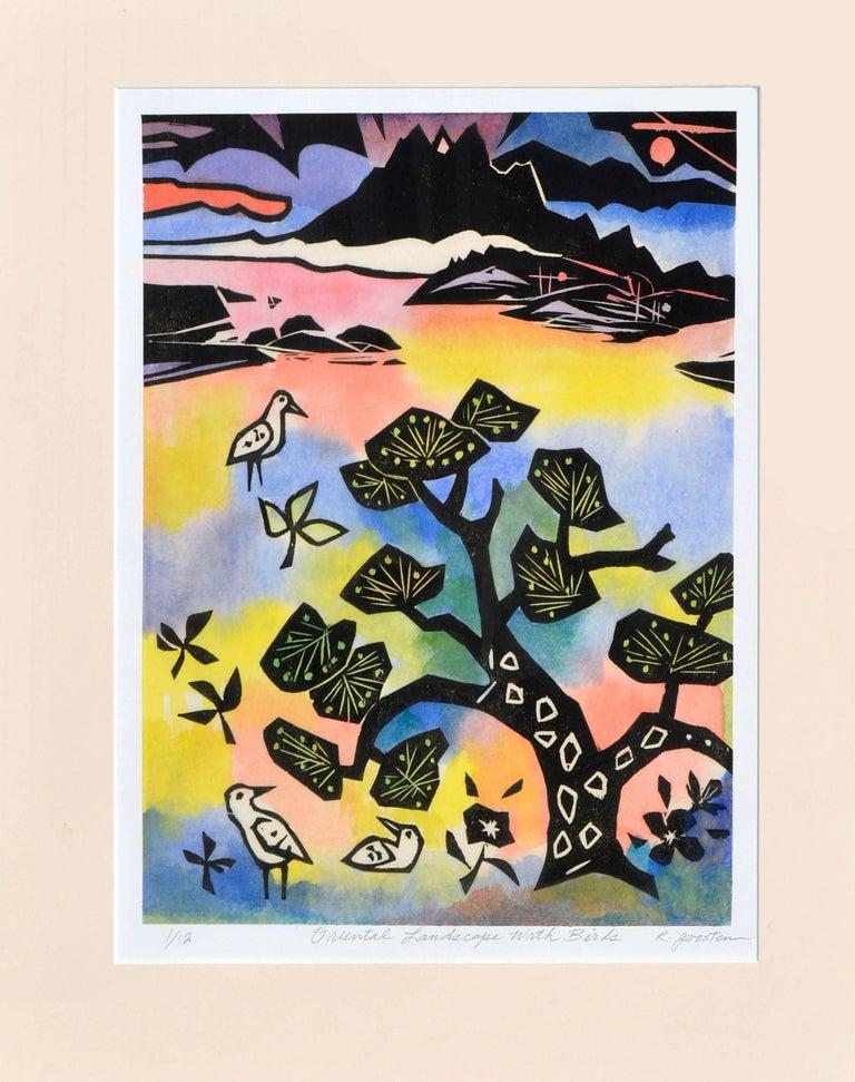 Oriental Landscape with Birds - Painting by Ralph Edward Joosten