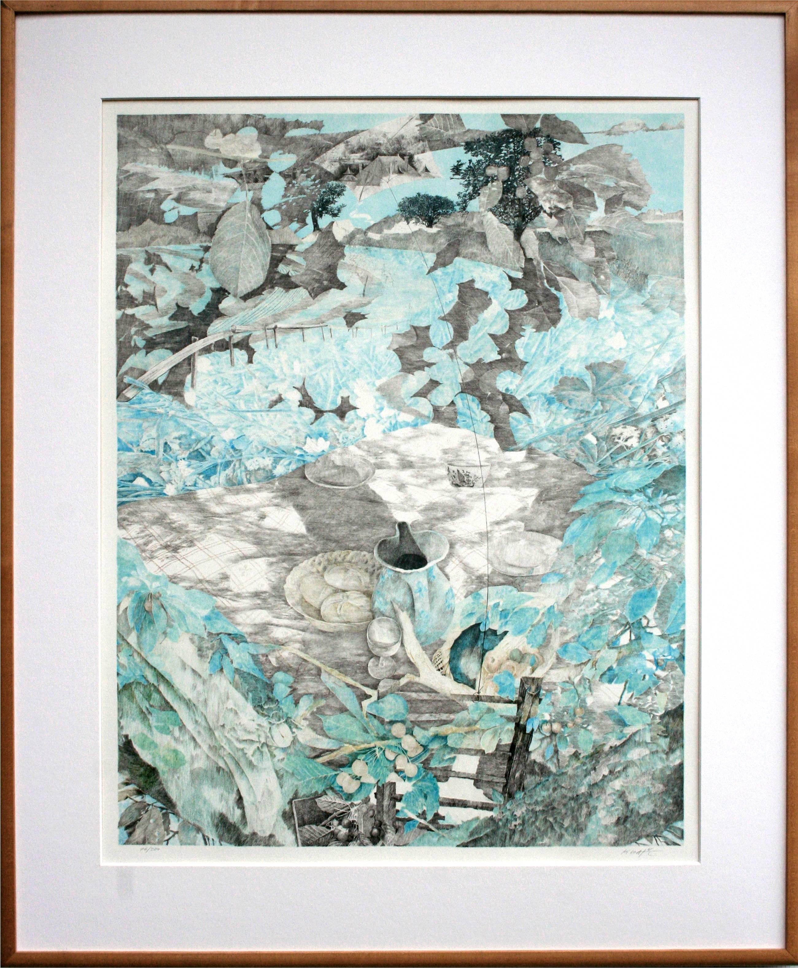 Picnic & Kite - Abstract Landscape Lithograph