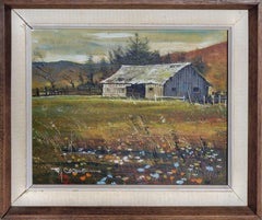 Countryside Barn with Wildflowers Landscape