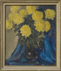 Yellow Mums with Blue Drape