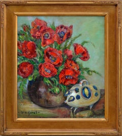 Red Poppies Still Life with Ceramic Pig