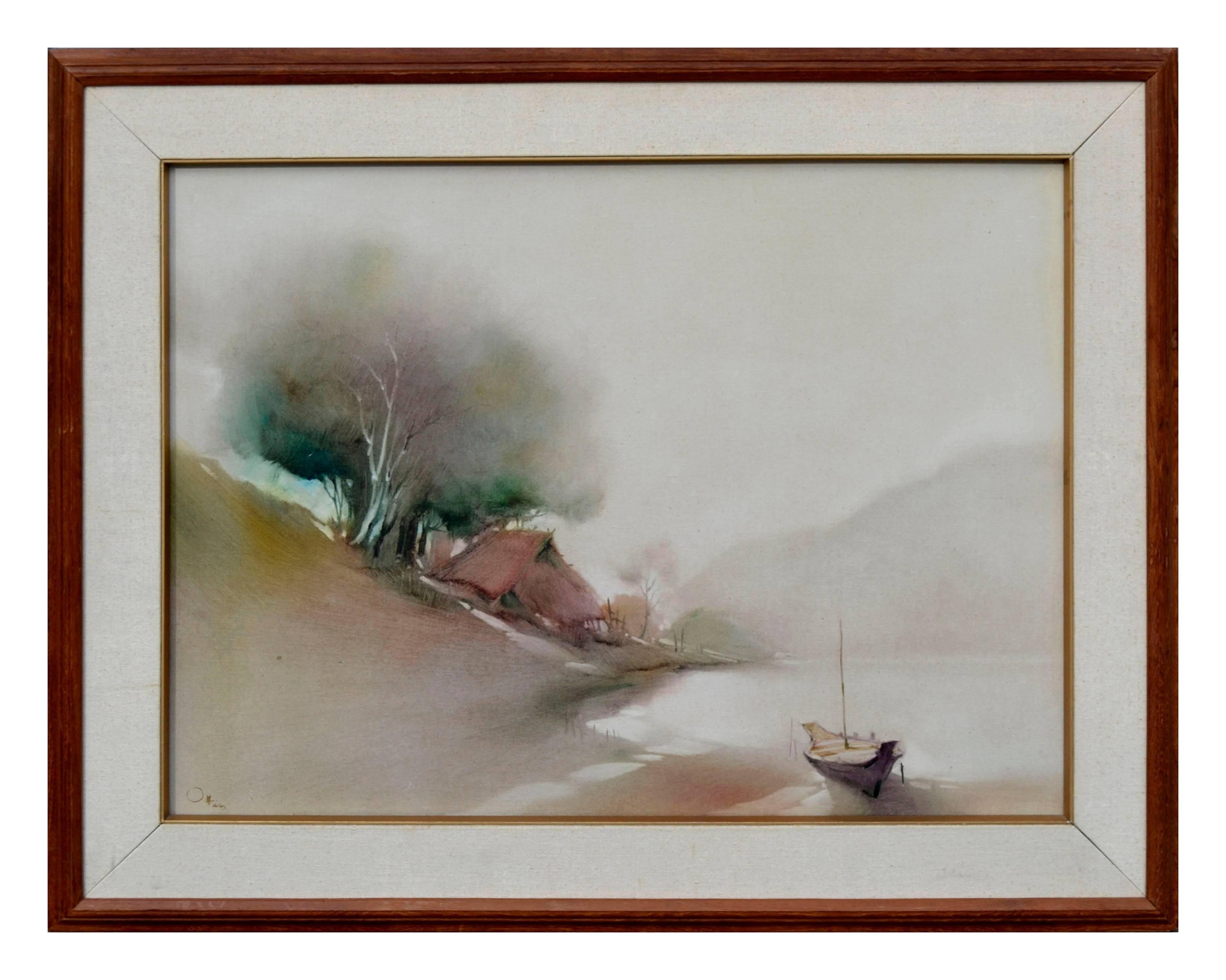 Boat at the Shore, Minimalist Landscape
